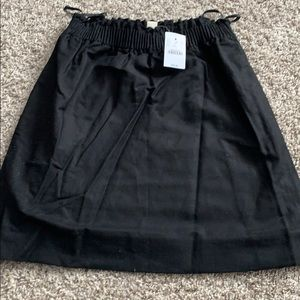 NWT Sz 0  JCrew Black Linen paper bag Skirt